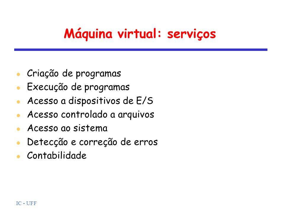 IC - UFF Máquina virtual: serviços Criação de programas SO oferece facilidades: editores e depuradores tipicamente estes serviços não são parte do SO e sim dos utilitários contudo, são acessíveis através do SO