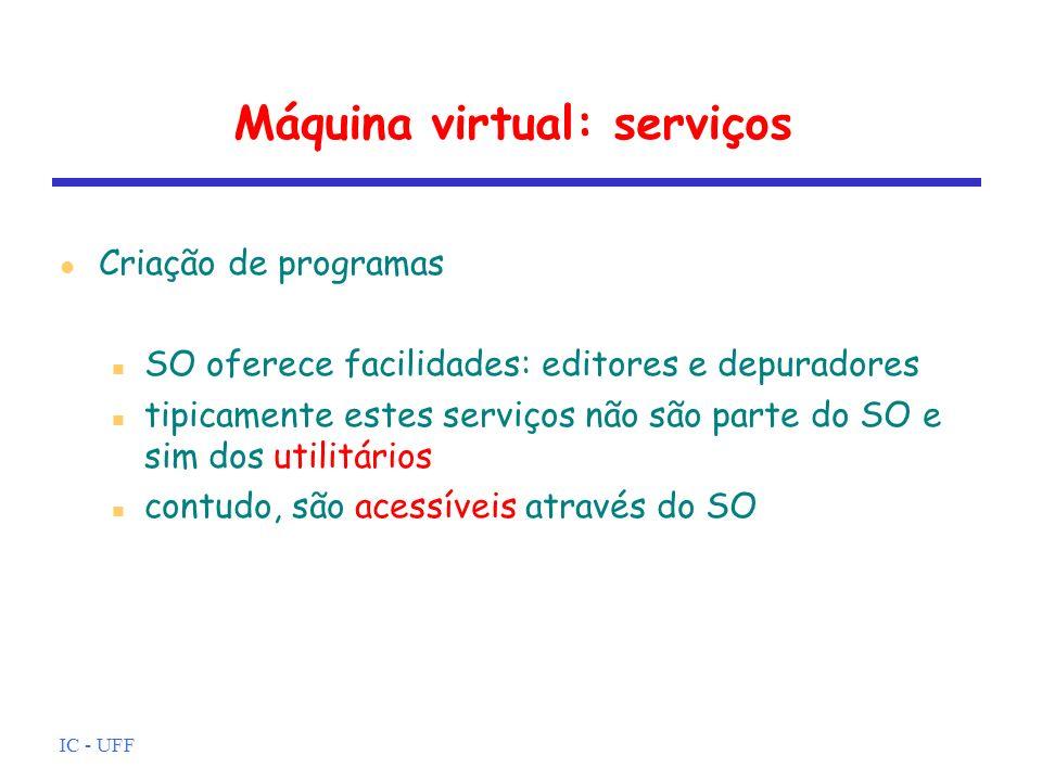 IC - UFF Máquina virtual: serviços Execução de programas carregamento do programa em memória arquivos e dispositivos de E/S devem ser iniciados outros recursos devem ser preparados SO gerencia estas ações para o usuário