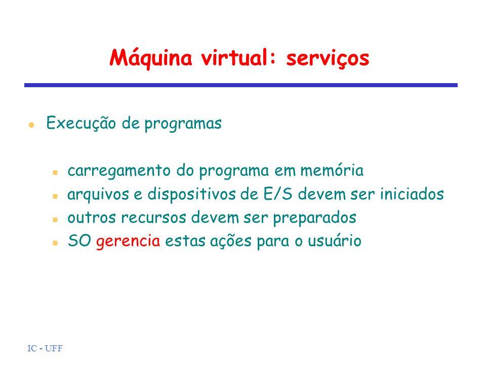 IC - UFF Máquina virtual: serviços Acesso a dispositivos de E/S cada dispositivo tem seu próprio conjunto de instruções ou sinais de controle SO esconde estas ações e usuário só executa leituras e escritas