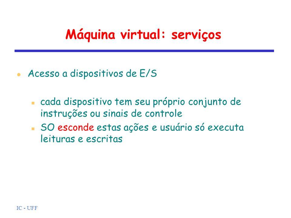 IC - UFF Máquina virtual: serviços Acesso controlado a arquivos usuário não se preocupa coma natureza do dispositivo de E/S (disco, fita,...) usuário não se preocupa com formato do arquivo no dispositivo mecanismos de proteção em caso de múltiplos usuários