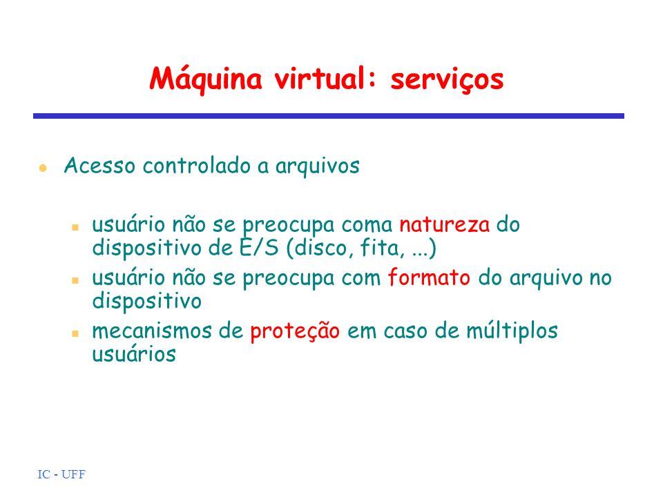 IC - UFF Máquina virtual: serviços Acesso ao sistema (recursos) SO controla acesso ao sistema como um todo e a recursos específicos em particular proteção contra acesso não autorizado resolução de conflitos em caso de disputa