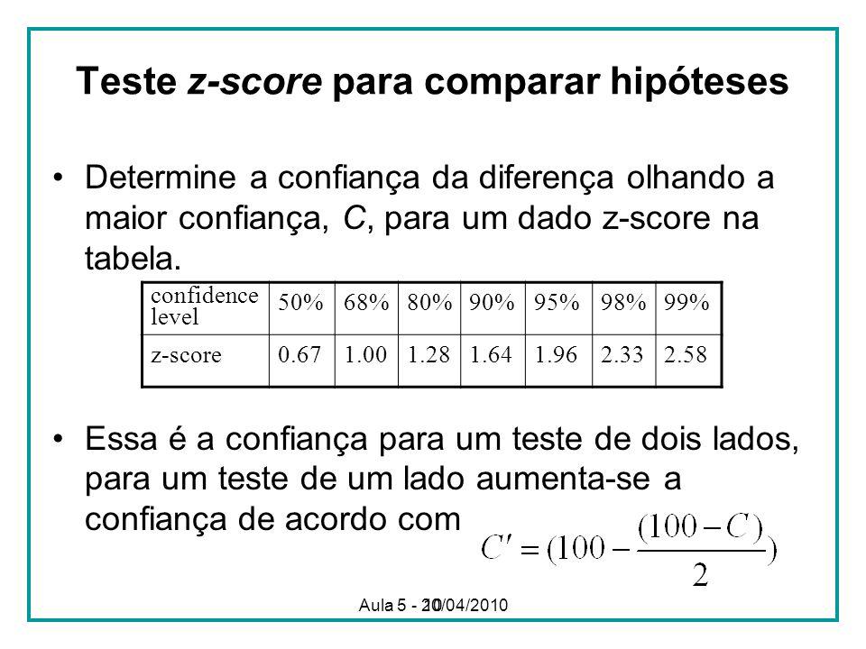 10 Teste z-score para comparar hipóteses Determine a confiança da diferença olhando a maior confiança, C, para um dado z-score na tabela. Essa é a con