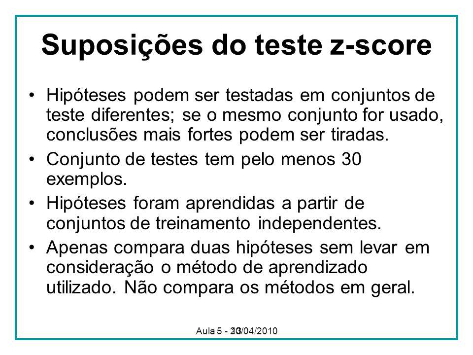 13 Suposições do teste z-score Hipóteses podem ser testadas em conjuntos de teste diferentes; se o mesmo conjunto for usado, conclusões mais fortes podem ser tiradas.