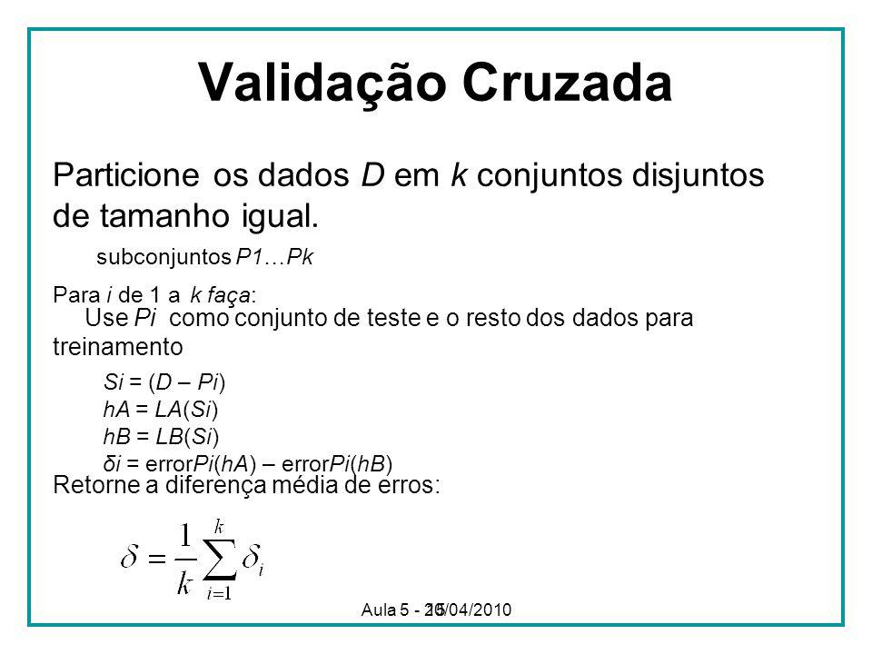 15 Validação Cruzada Particione os dados D em k conjuntos disjuntos de tamanho igual. subconjuntos P1…Pk Para i de 1 a k faça: Use Pi como conjunto de