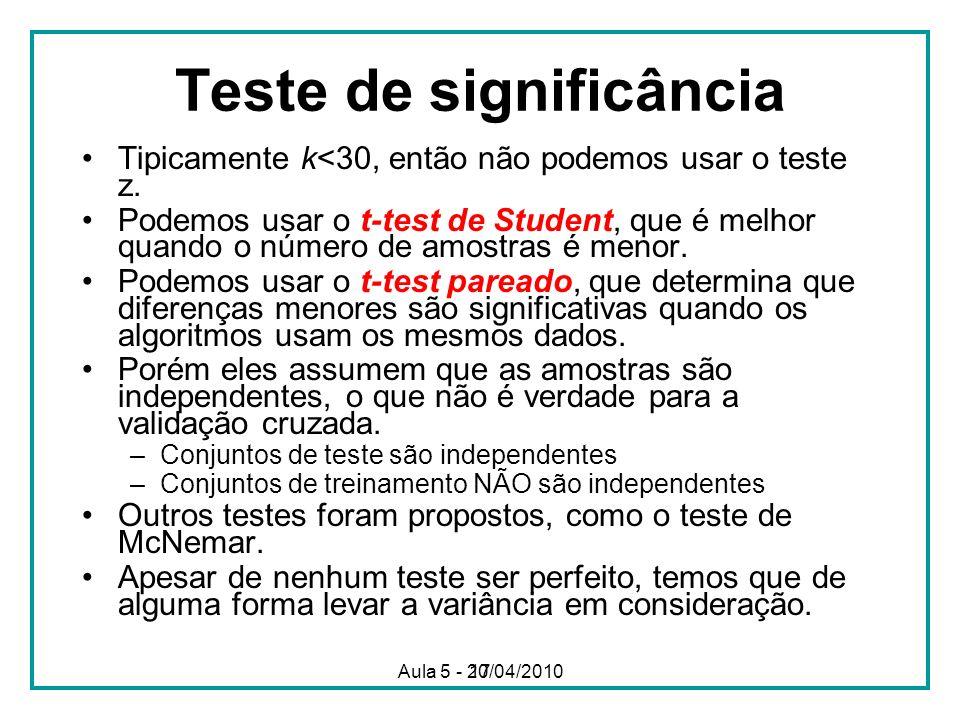 17 Teste de significância Tipicamente k<30, então não podemos usar o teste z. Podemos usar o t-test de Student, que é melhor quando o número de amostr