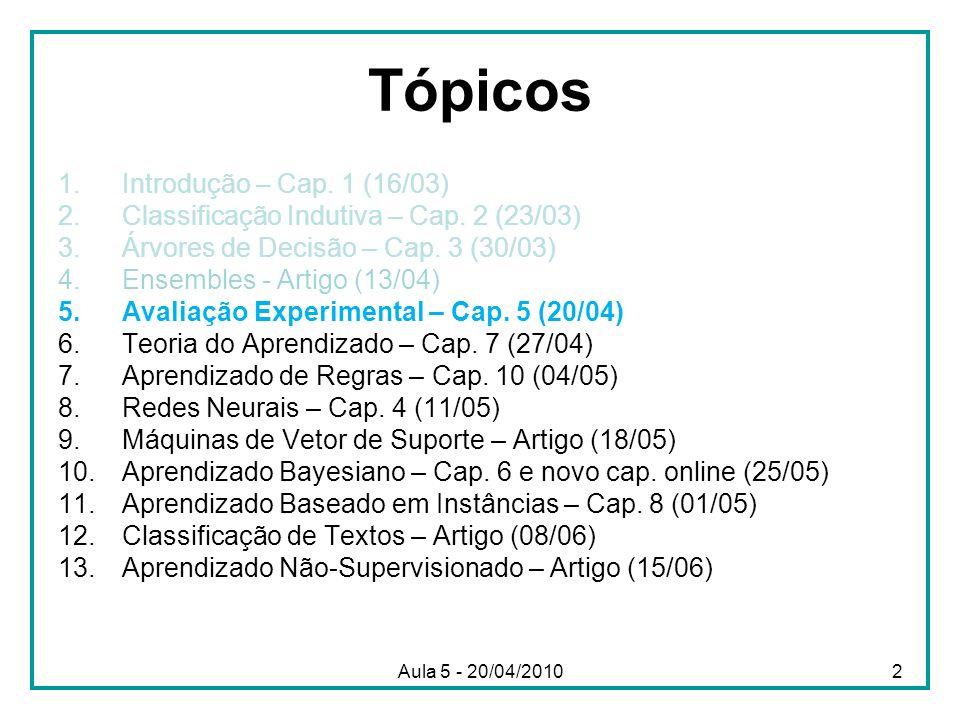 Aula 5 - 20/04/20102 Tópicos 1.Introdução – Cap. 1 (16/03) 2.Classificação Indutiva – Cap. 2 (23/03) 3.Árvores de Decisão – Cap. 3 (30/03) 4.Ensembles