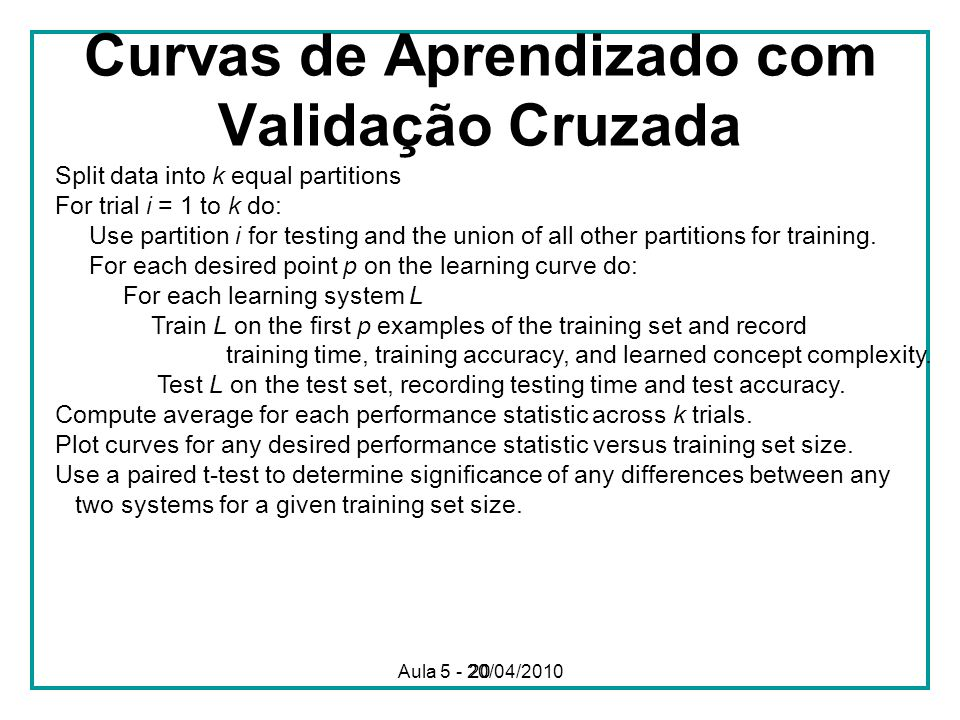 20 Curvas de Aprendizado com Validação Cruzada Split data into k equal partitions For trial i = 1 to k do: Use partition i for testing and the union o