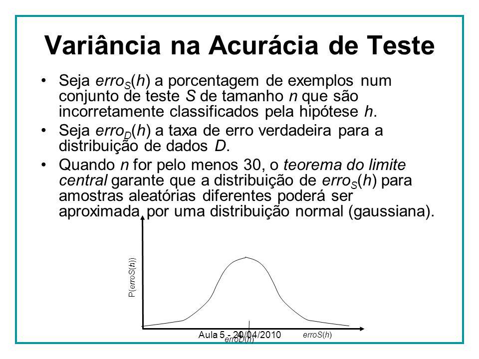 4 Variância na Acurácia de Teste Seja erro S (h) a porcentagem de exemplos num conjunto de teste S de tamanho n que são incorretamente classificados pela hipótese h.