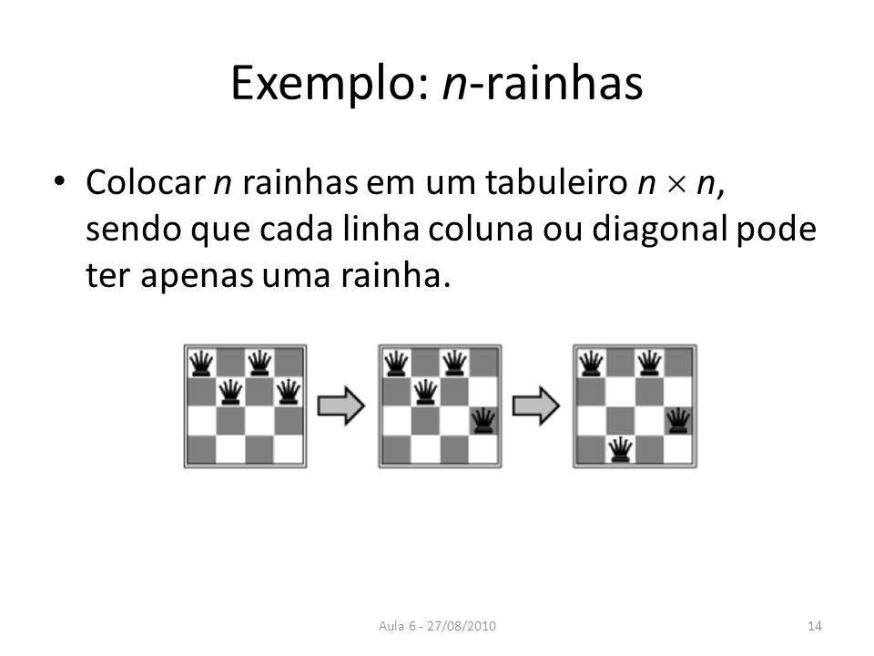 Aula 6 - 27/08/2010 Exemplo: n-rainhas Colocar n rainhas em um tabuleiro n n, sendo que cada linha coluna ou diagonal pode ter apenas uma rainha. 14