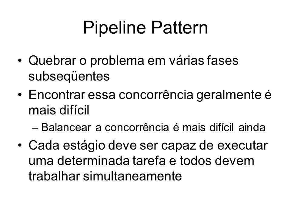 Pipeline Pattern Quebrar o problema em várias fases subseqüentes Encontrar essa concorrência geralmente é mais difícil –Balancear a concorrência é mai