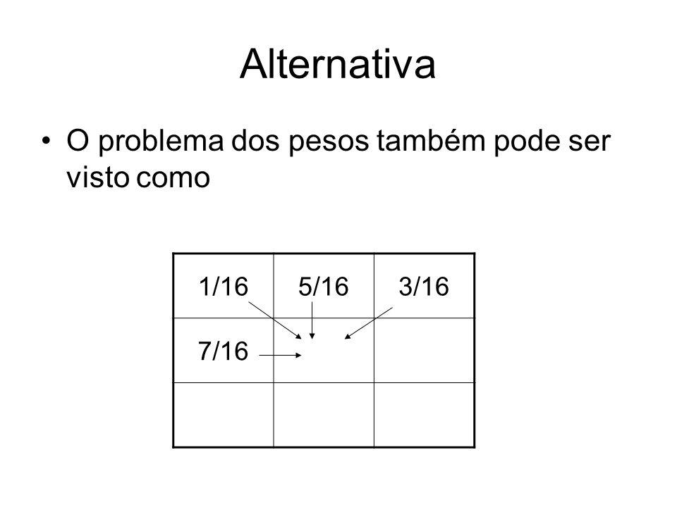 Alternativa O problema dos pesos também pode ser visto como 1/165/163/16 7/16