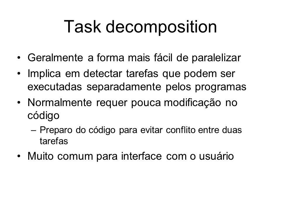 Task decomposition Geralmente a forma mais fácil de paralelizar Implica em detectar tarefas que podem ser executadas separadamente pelos programas Nor