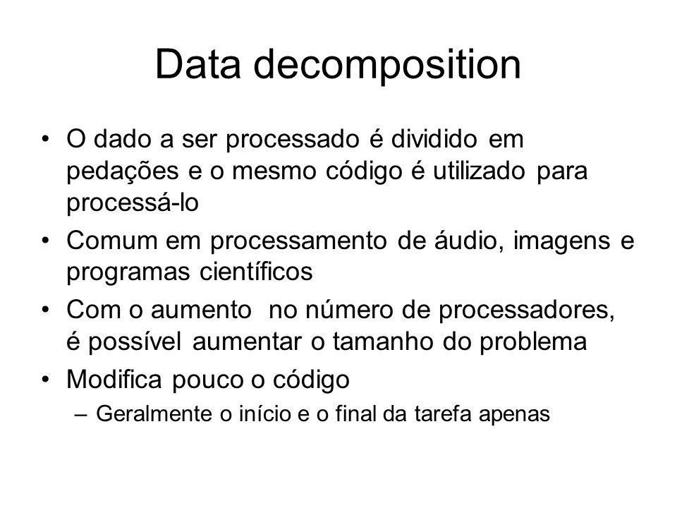 Data decomposition O dado a ser processado é dividido em pedações e o mesmo código é utilizado para processá-lo Comum em processamento de áudio, image