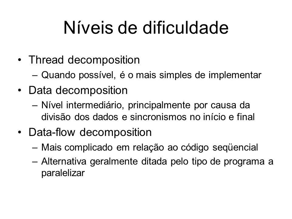 Níveis de dificuldade Thread decomposition –Quando possível, é o mais simples de implementar Data decomposition –Nível intermediário, principalmente p