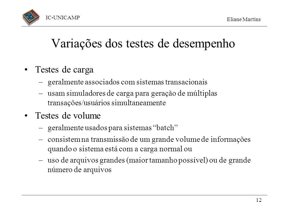 IC-UNICAMP Eliane Martins 12 Variações dos testes de desempenho Testes de carga –geralmente associados com sistemas transacionais –usam simuladores de