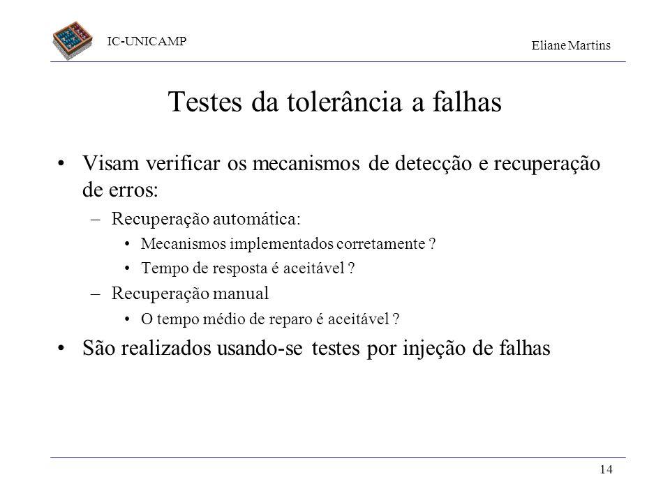 IC-UNICAMP Eliane Martins 14 Testes da tolerância a falhas Visam verificar os mecanismos de detecção e recuperação de erros: –Recuperação automática:
