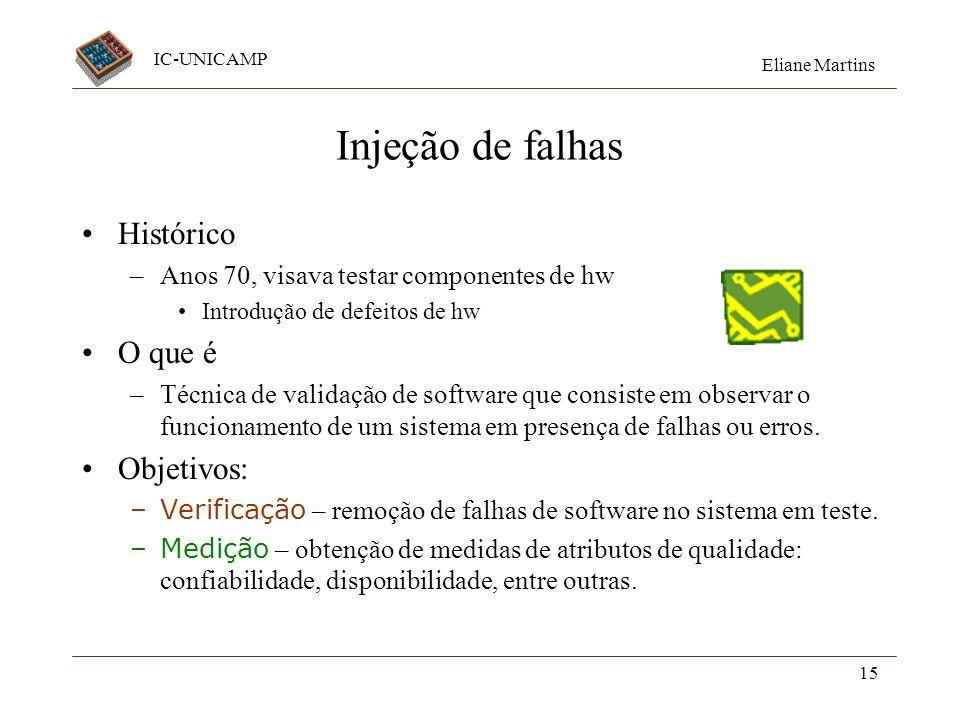 IC-UNICAMP Eliane Martins 15 Injeção de falhas Histórico –Anos 70, visava testar componentes de hw Introdução de defeitos de hw O que é –Técnica de va