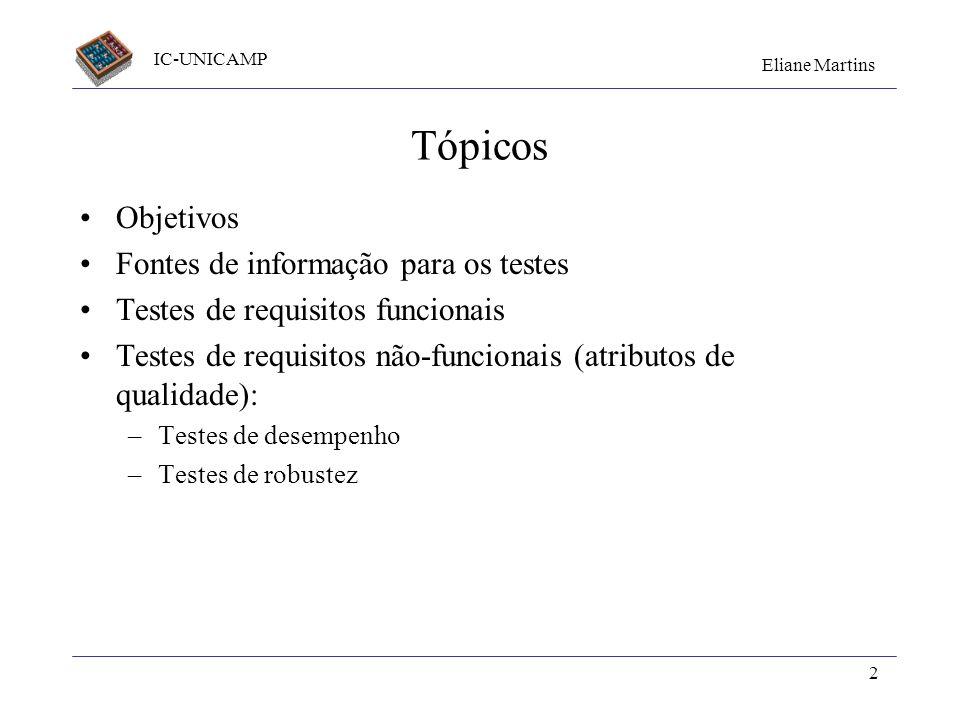 IC-UNICAMP Eliane Martins 2 Tópicos Objetivos Fontes de informação para os testes Testes de requisitos funcionais Testes de requisitos não-funcionais