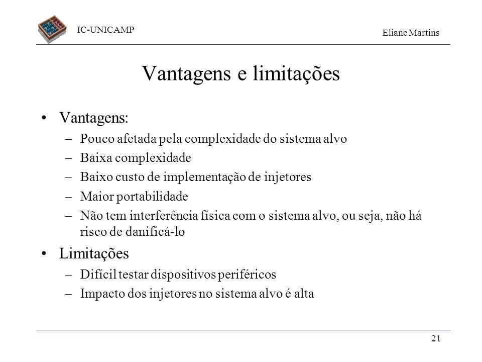 IC-UNICAMP Eliane Martins 21 Vantagens e limitações Vantagens: –Pouco afetada pela complexidade do sistema alvo –Baixa complexidade –Baixo custo de im