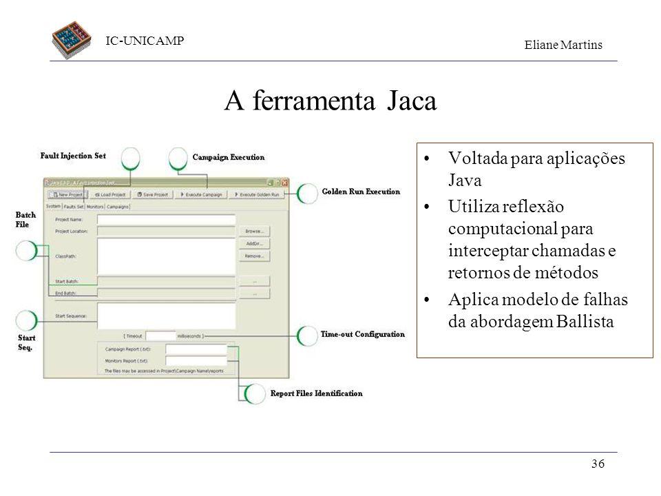 IC-UNICAMP Eliane Martins 36 A ferramenta Jaca Voltada para aplicações Java Utiliza reflexão computacional para interceptar chamadas e retornos de mét