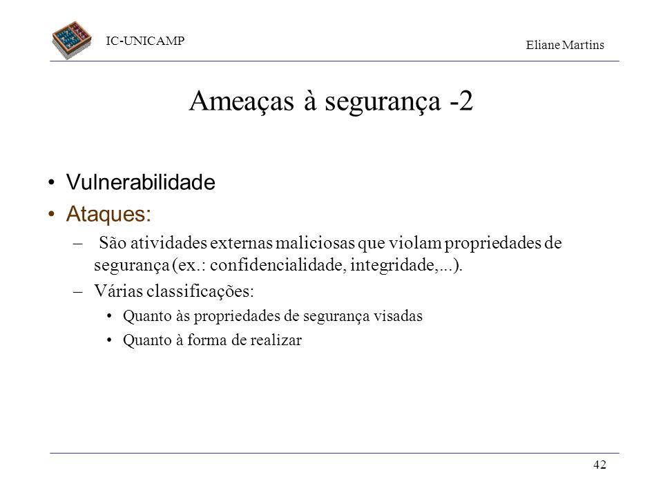 IC-UNICAMP Eliane Martins 42 Ameaças à segurança -2 Vulnerabilidade Ataques: – São atividades externas maliciosas que violam propriedades de segurança