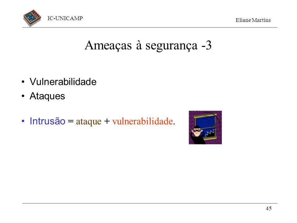 IC-UNICAMP Eliane Martins 45 Ameaças à segurança -3 Vulnerabilidade Ataques Intrusão = ataque + vulnerabilidade.