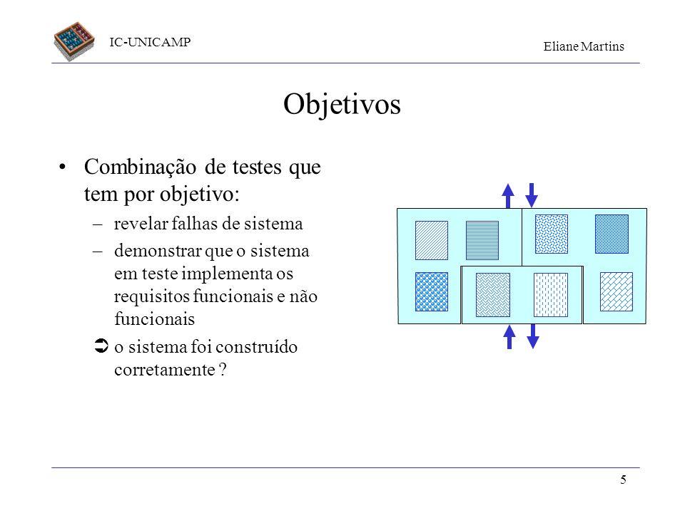 IC-UNICAMP Eliane Martins 5 Objetivos Combinação de testes que tem por objetivo: –revelar falhas de sistema –demonstrar que o sistema em teste impleme