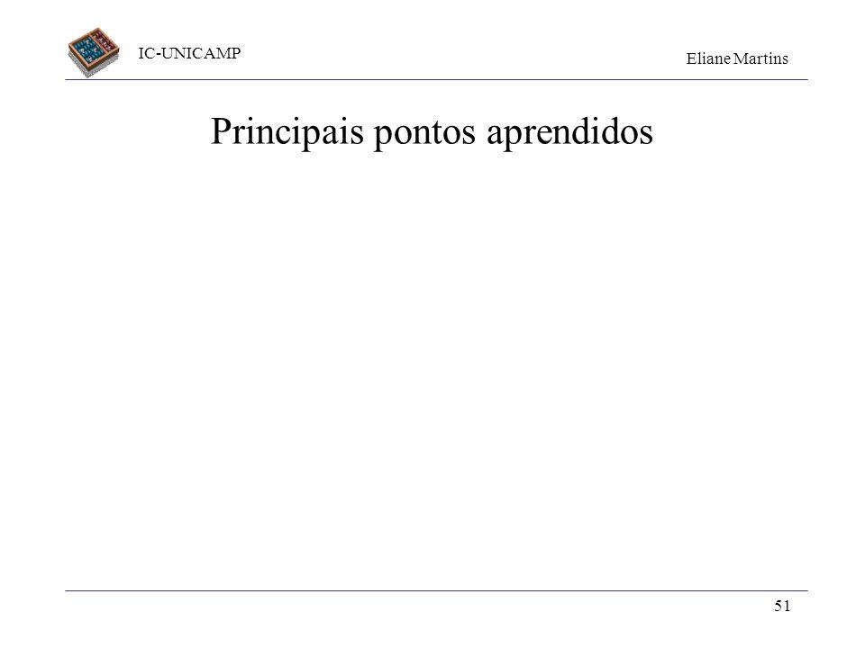 IC-UNICAMP Eliane Martins 51 Principais pontos aprendidos
