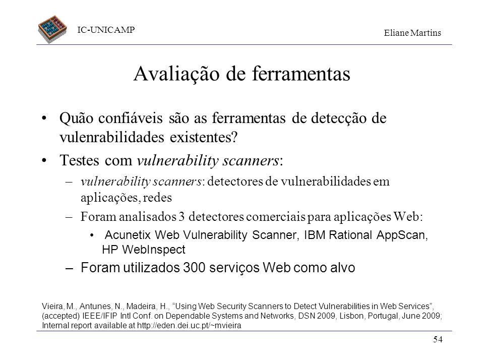 IC-UNICAMP Eliane Martins 54 Avaliação de ferramentas Quão confiáveis são as ferramentas de detecção de vulenrabilidades existentes? Testes com vulner