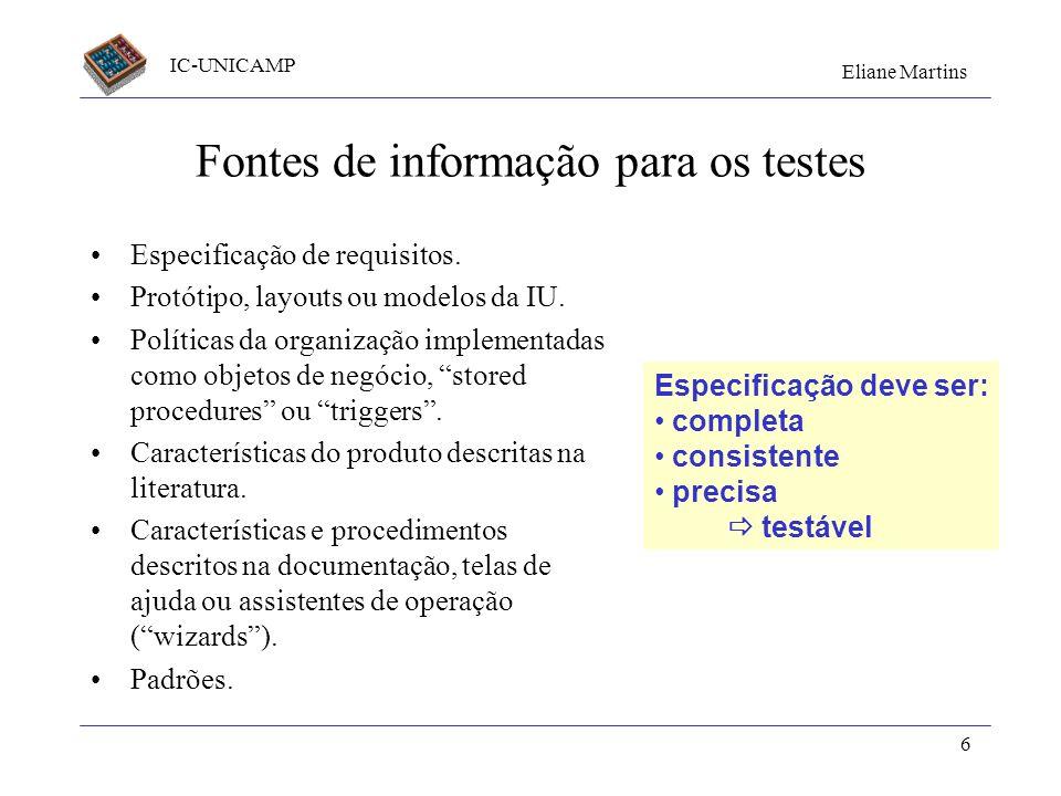 IC-UNICAMP Eliane Martins 6 Fontes de informação para os testes Especificação de requisitos. Protótipo, layouts ou modelos da IU. Políticas da organiz