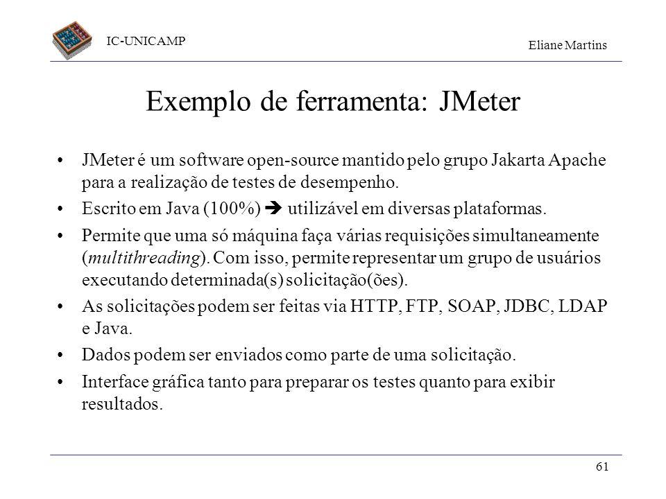 IC-UNICAMP Eliane Martins 61 Exemplo de ferramenta: JMeter JMeter é um software open-source mantido pelo grupo Jakarta Apache para a realização de tes