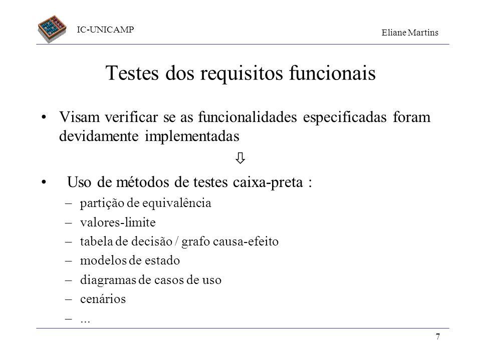 IC-UNICAMP Eliane Martins 7 Testes dos requisitos funcionais Visam verificar se as funcionalidades especificadas foram devidamente implementadas Uso d