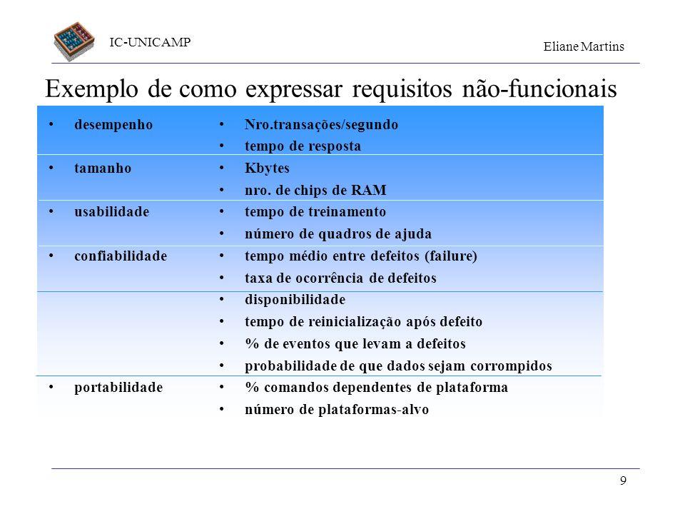 IC-UNICAMP Eliane Martins 9 Exemplo de como expressar requisitos não-funcionais desempenho tamanho usabilidade confiabilidade portabilidade Nro.transa