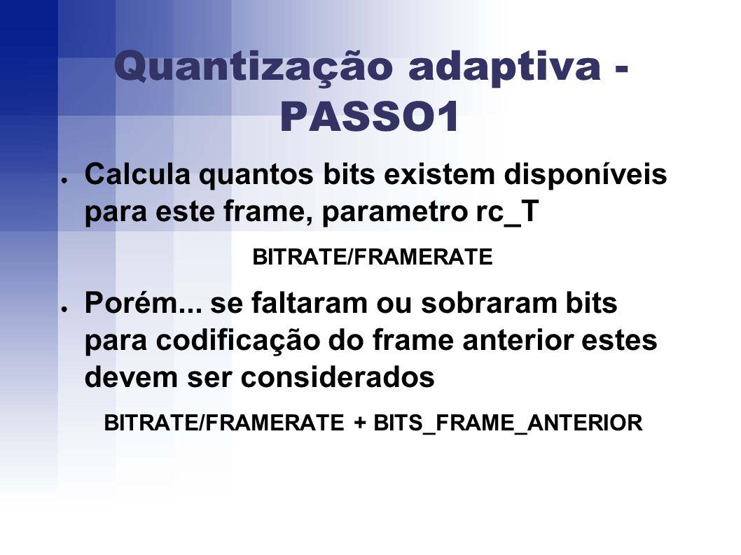 Quantização adaptiva - PASSO1 Calcula quantos bits existem disponíveis para este frame, parametro rc_T BITRATE/FRAMERATE Porém...