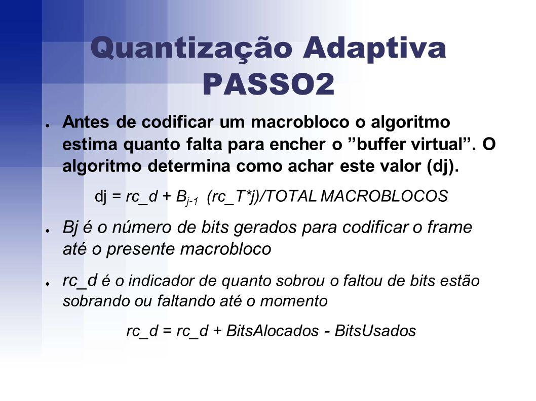 Quantização Adaptiva PASSO2 Antes de codificar um macrobloco o algoritmo estima quanto falta para encher o buffer virtual.