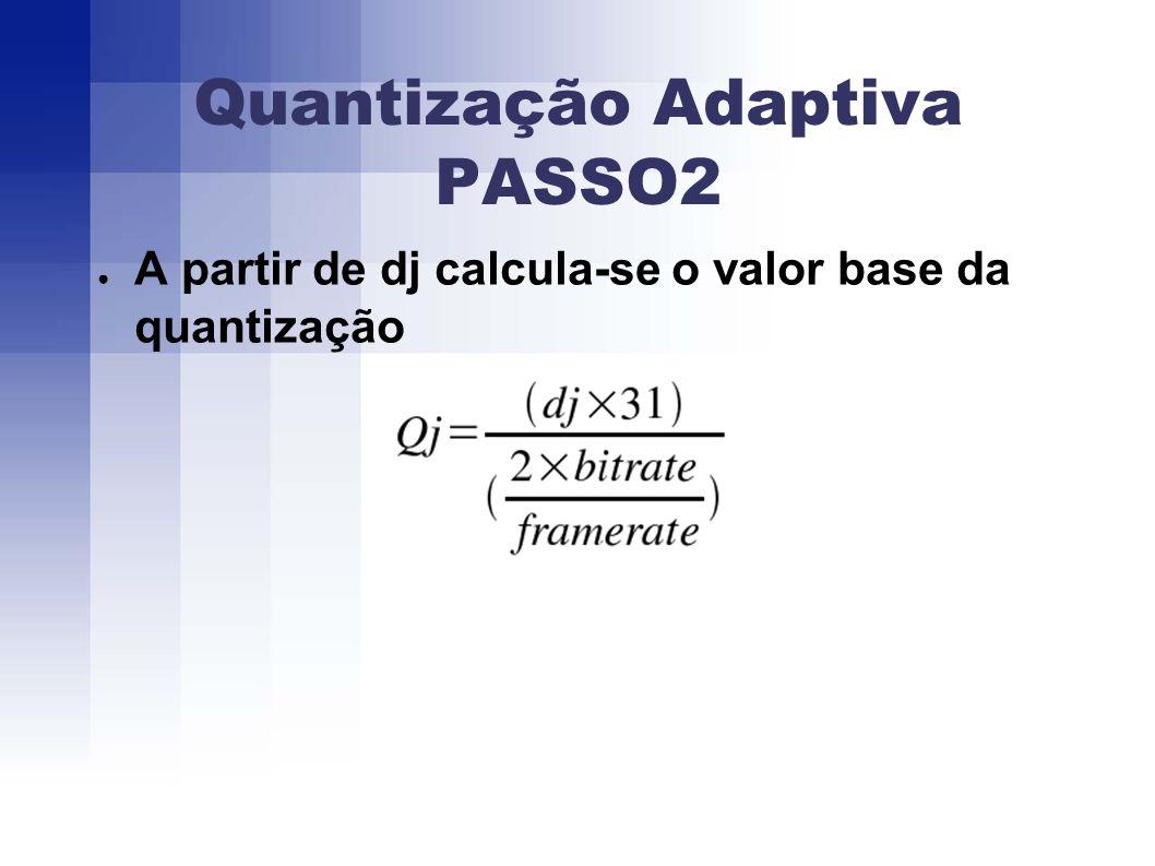 Quantização Adaptiva PASSO2 A partir de dj calcula-se o valor base da quantização