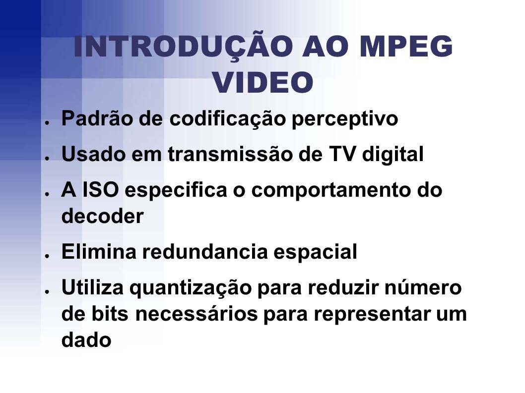 INTRODUÇÃO AO MPEG VIDEO Padrão de codificação perceptivo Usado em transmissão de TV digital A ISO especifica o comportamento do decoder Elimina redundancia espacial Utiliza quantização para reduzir número de bits necessários para representar um dado