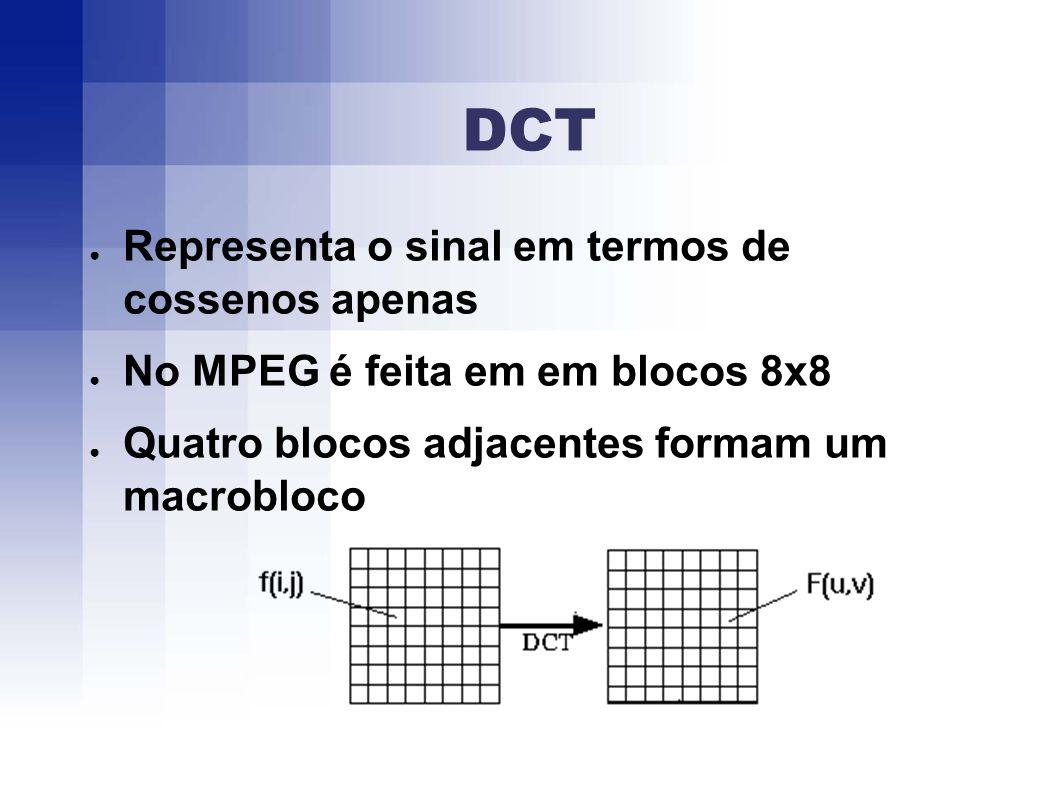 DCT Representa o sinal em termos de cossenos apenas No MPEG é feita em em blocos 8x8 Quatro blocos adjacentes formam um macrobloco