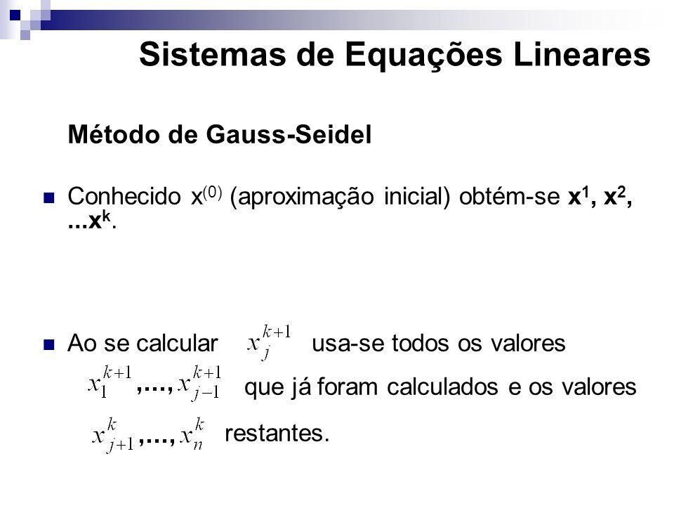 Método de Gauss-Seidel Conhecido x (0) (aproximação inicial) obtém-se x 1, x 2,...x k. Ao se calcularusa-se todos os valores que já foram calculados e