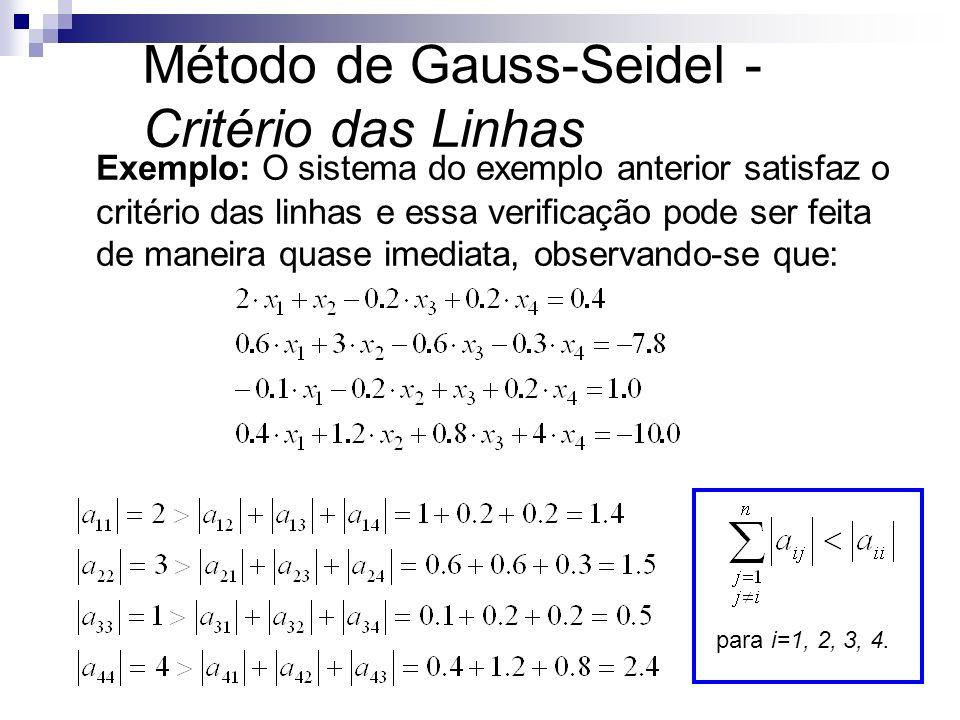 Exemplo: O sistema do exemplo anterior satisfaz o critério das linhas e essa verificação pode ser feita de maneira quase imediata, observando-se que: