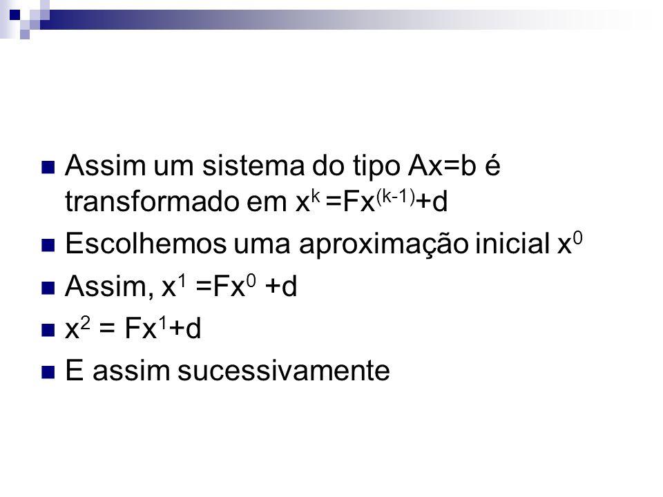 Assim um sistema do tipo Ax=b é transformado em x k =Fx (k-1) +d Escolhemos uma aproximação inicial x 0 Assim, x 1 =Fx 0 +d x 2 = Fx 1 +d E assim suce