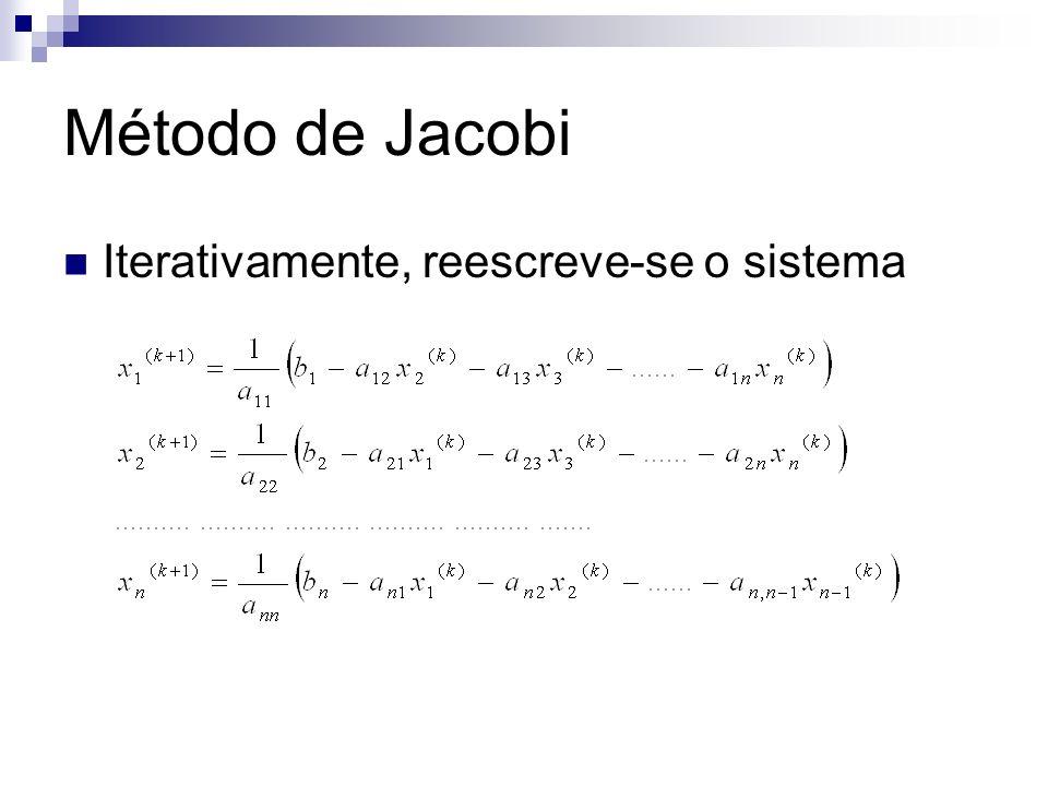 Método de Jacobi Iterativamente, reescreve-se o sistema