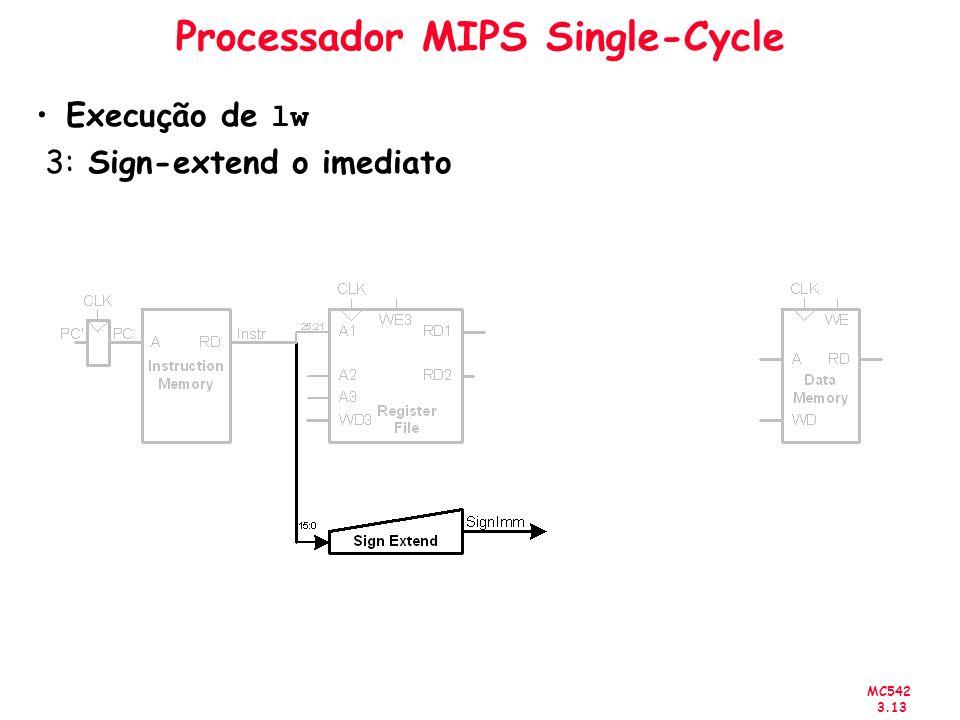 MC542 3.13 Processador MIPS Single-Cycle Execução de lw 3: Sign-extend o imediato