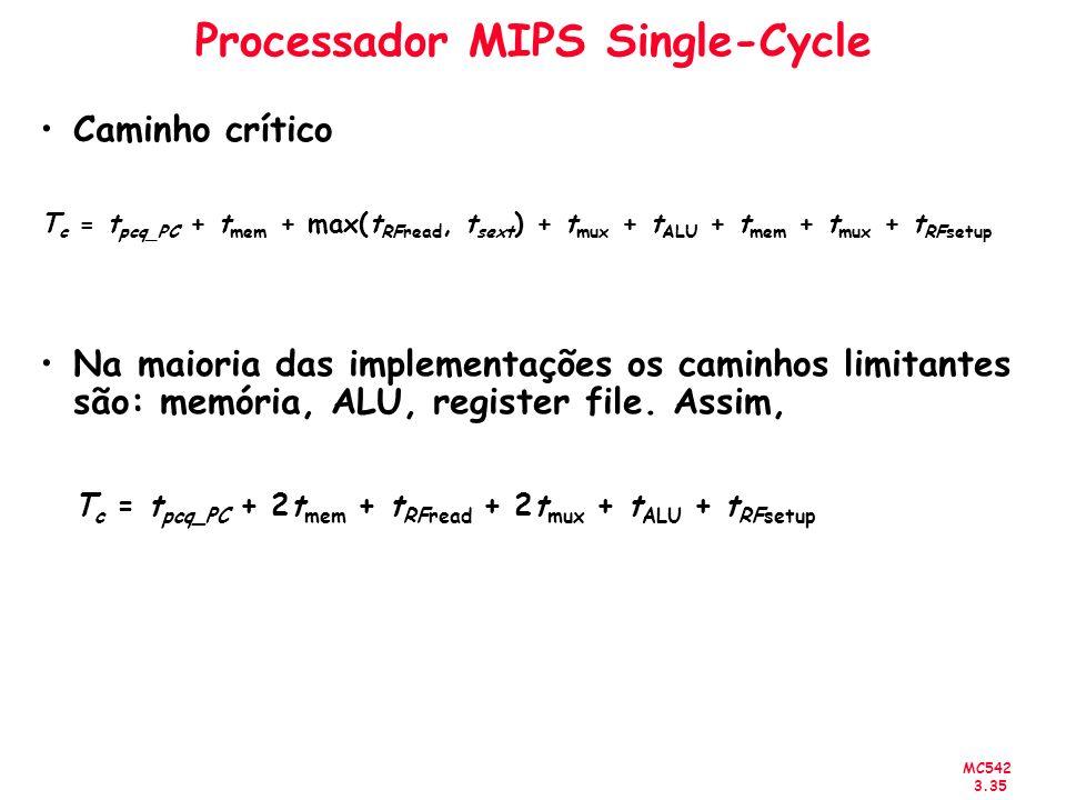 MC542 3.35 Processador MIPS Single-Cycle Caminho crítico T c = t pcq_PC + t mem + max(t RFread, t sext ) + t mux + t ALU + t mem + t mux + t RFsetup N