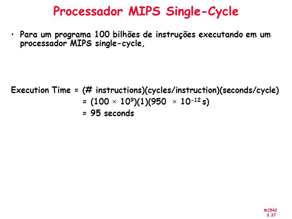 MC542 3.37 Processador MIPS Single-Cycle Para um programa 100 bilhões de instruções executando em um processador MIPS single-cycle, Execution Time = (