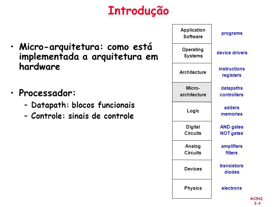 MC542 3.4 Introdução Micro-arquitetura: como está implementada a arquitetura em hardware Processador: –Datapath: blocos funcionais –Controle: sinais d