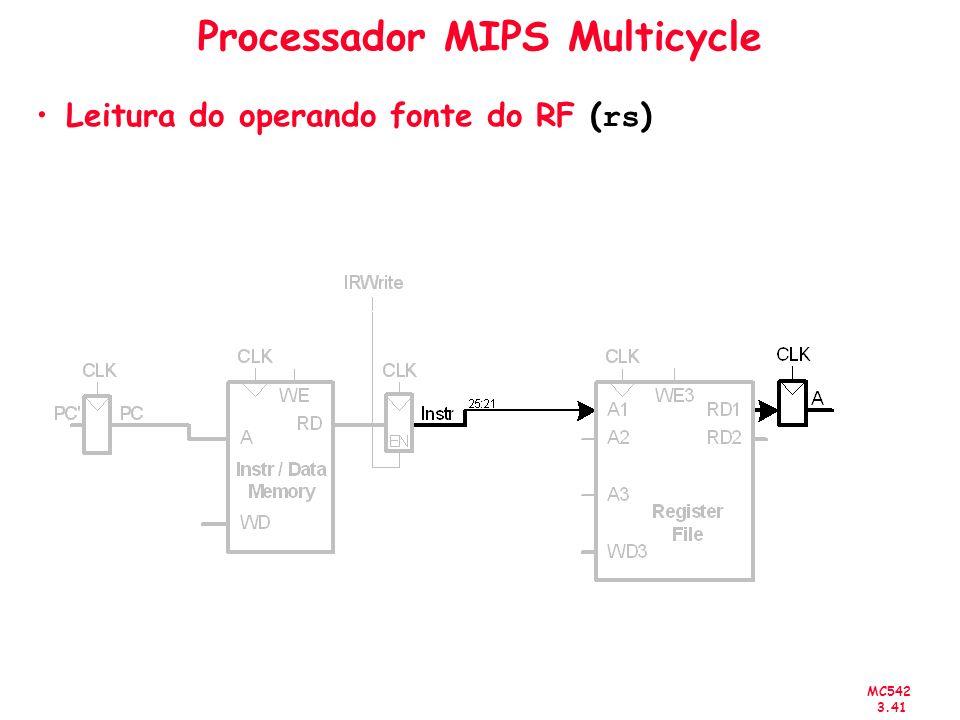MC542 3.41 Processador MIPS Multicycle Leitura do operando fonte do RF ( rs )