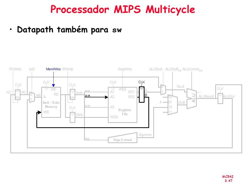 MC542 3.47 Processador MIPS Multicycle Datapath também para sw
