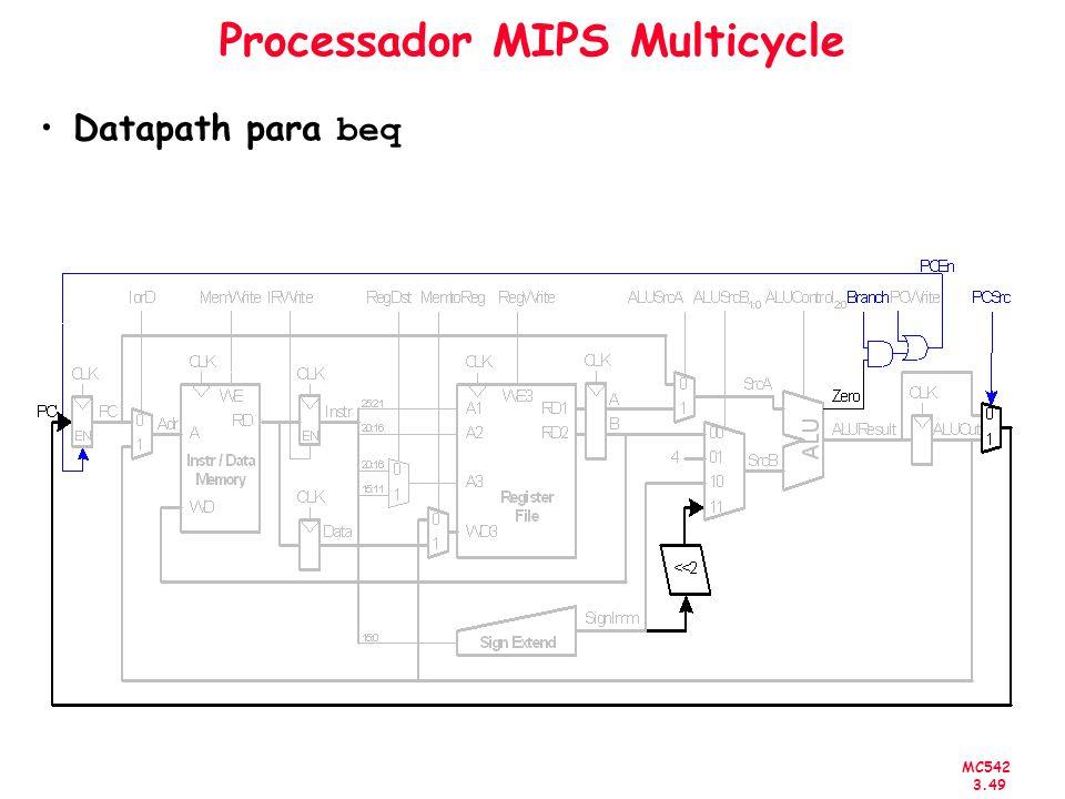 MC542 3.49 Processador MIPS Multicycle Datapath para beq