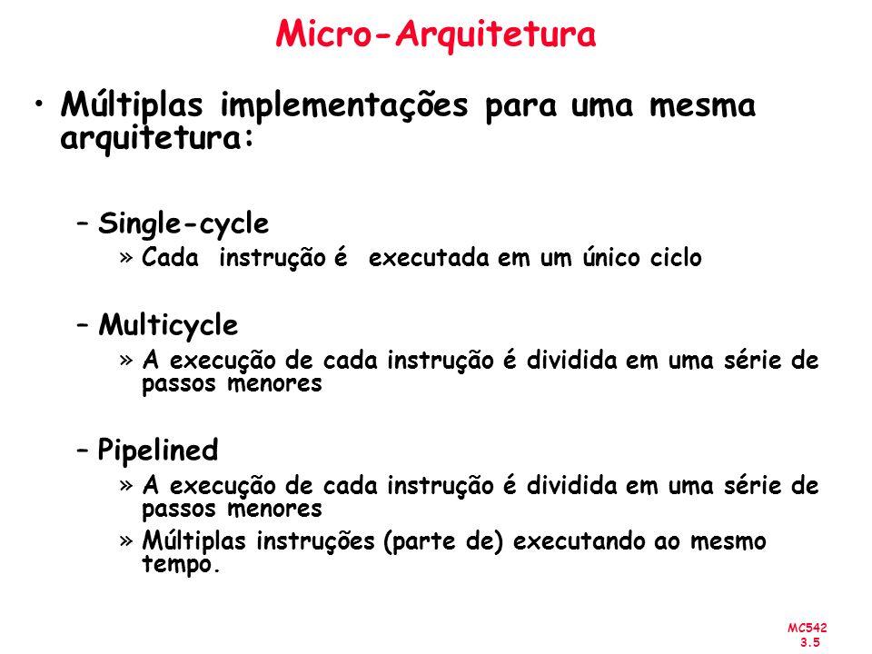 MC542 3.6 Micro-Arquitetura Program execution time Execution Time = (# instructions)(cycles/instruction)(seconds/cycle) Definições: –Cycles/instruction = CPI –Seconds/cycle = clock period –1/CPI = Instructions/cycle = IPC Desafios na implementação de uma micro-arquitetura –Custo –Power –Desempenho